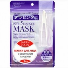 Japan Gals Pure 5 Essential - Маски для лица с плацентой, 7 шт.