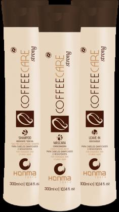 HONMA TOKYO Набор бессолевой для поврежденных волос восстановление и защита (шампунь 300 мл, маска 300 мл, несмываемый кондиционер 300 мл) Coffee Care Strong