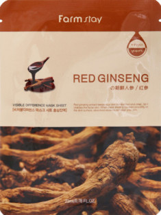 Маска с экстрактом корня красного женьшеня FARMSTAY Red ginseng visible difference mask sheet 23 мл