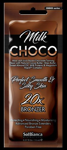 SOLBIANCA Крем с маслами какао, ши, миндаля, протеинами молока, витаминным комплексом и бронзаторами для загара в солярии / Choco Milk 15 мл