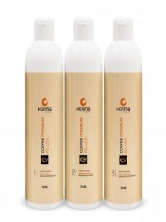 HONMA TOKYO Набор для кератинового выпрямления волос с сильным завитком (шампунь 250 мл, кератин 250 мл, маска 250 мл) Coffee Premium All Liss