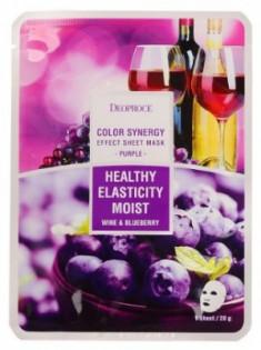Маска с черникой и красным виноградом DEOPROCE Color synergy effect sheet mask purple 20г
