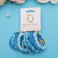 Резинка для волос Тофи (набор 22 шт) объм, голубые QUEEN FAIR