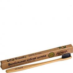 Бамбуковая зубная щетка угольная мягкая Aasha Herbals