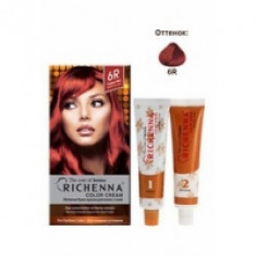 Richenna Color Cream 6 r - Крем-краска для волос с хной, медно-красный