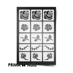 Prima Nails, Трафареты «Розы», белые