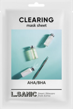 Тканевая маска с AHA/BHA кислотами для очищения пор L.SANIC AHA/BHA CLEARING MASK SHEET 25мл