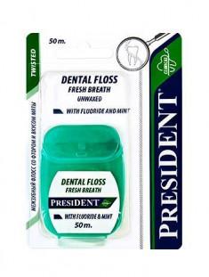Президент Зубная нить-флосс невощеная со фтором и вкусом мяты 50м President