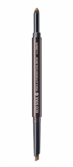 Карандаш-пудра для бровей THE SAEM Eco Soul Pencil&Powder Dual Brow 04 Medium Brown 0,5гр*0,3гр