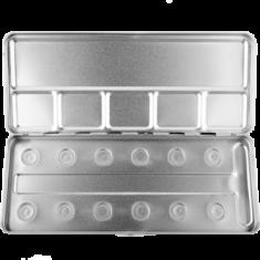 Пенал-палитра металлическая для акварели Make-Up Atelier Paris M12C на 12 позиций
