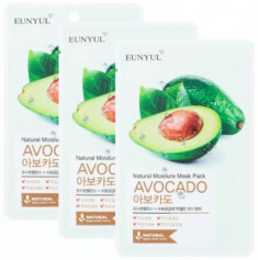 Тканевая маска с экстрактом авокадо EUNYUL NATURAL MOSTURE MASK PACK AVOCADO 22мл*3 шт