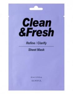 Тканевая маска для выравнивания тона и рельефа лица EUNYUL CLEAN & FRESH REFINE-CLARIFY SHEET MASK 22мл