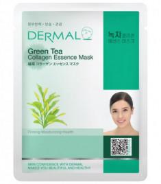 Тканевая маска зеленый чай и коллаген Dermal Green Tea Collagen Essence Mask 23 мл
