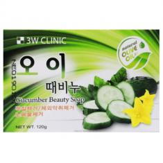 Мыло кусковое с экстрактом огурца 3W CLINIC Cucumber beauty soap 120р