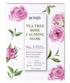 Маска тканевая с экстрактом чайного дерева и розы Petitfee Tea Tree Rose Calming Mask 25г