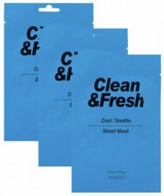 Набор тканевых масок для охлаждающего и успокаивающего эффекта EUNYUL Clean & Fresh Cool/Soothe Sheet Mask 22мл*3