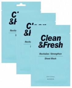 Набор тканевая маска для возрождения и восстановления здоровья кожи EUNYUL CLEAN & FRESH REVITALIZE-STRENGTHEN SHEET MASK 22мл*3