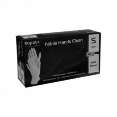 Нитриловые перчатки неопудренные, текстурированные, нестерильные «Nitrile Hands Clean», белые, 100 шт., р-р S (Kapous Professional)