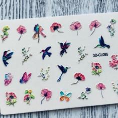 AnnaTkacheva, 3D-стикер CL №095 «Цветы. Птички» Anna Tkacheva